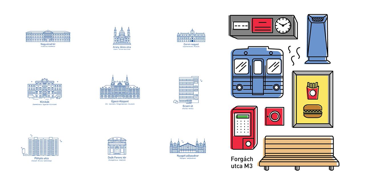 Mihály Zsófia | Budapest M3 subway line - Icon set & Main attractions | illusztráció | © 2016